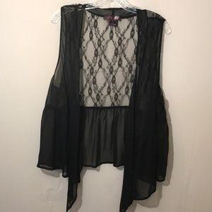 Rock & Roll Cowgirl Sheer/Lace Ruffle Vest Sz. L